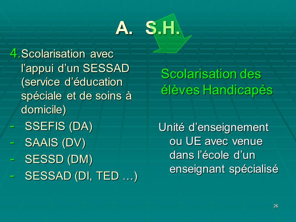 A. S.H. 4.Scolarisation avec l'appui d'un SESSAD (service d'éducation spéciale et de soins à domicile)