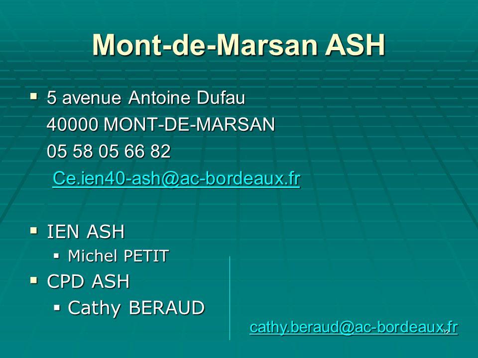 Mont-de-Marsan ASH 5 avenue Antoine Dufau 40000 MONT-DE-MARSAN