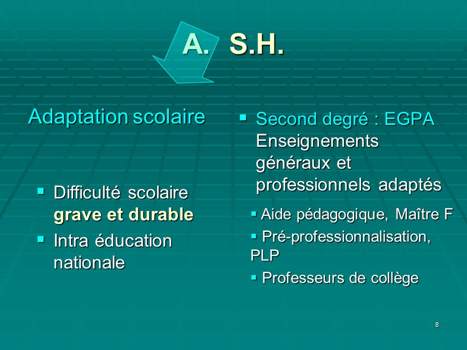 A. S.H. Adaptation scolaire