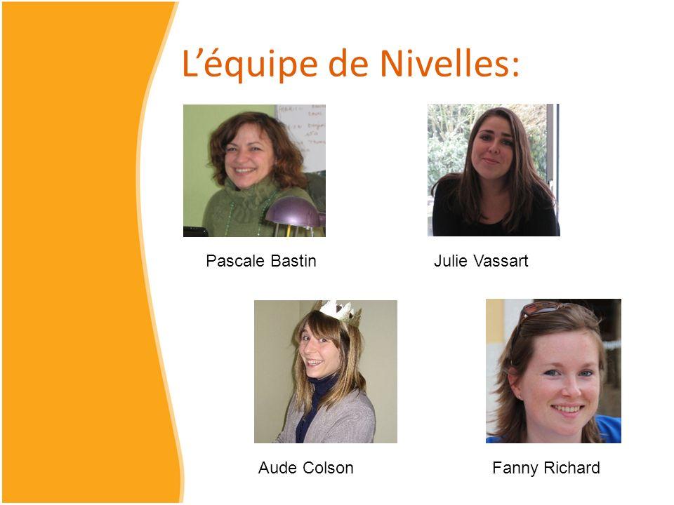 L'équipe de Nivelles: Pascale Bastin Julie Vassart Aude Colson