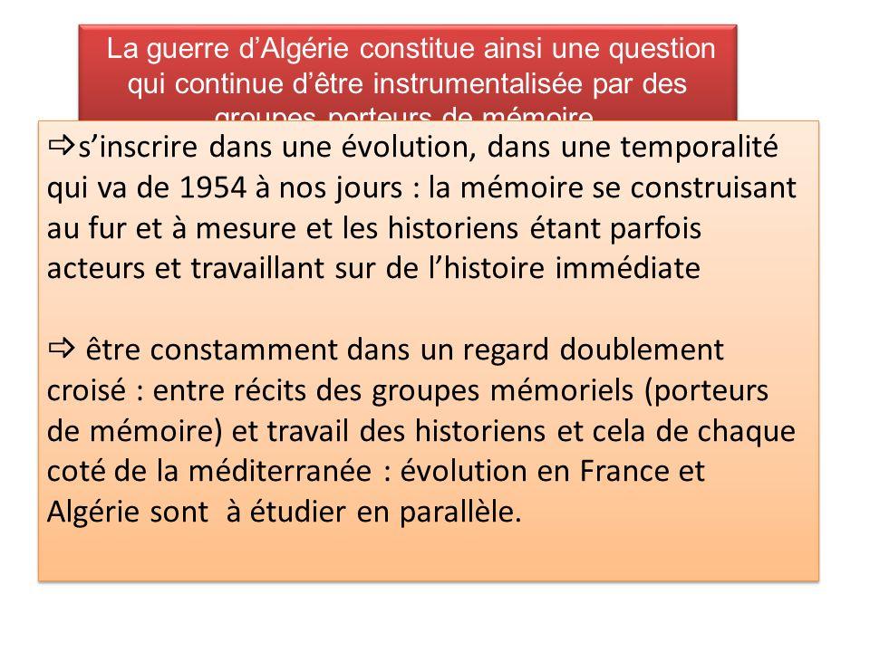 La guerre d'Algérie constitue ainsi une question qui continue d'être instrumentalisée par des groupes porteurs de mémoire.