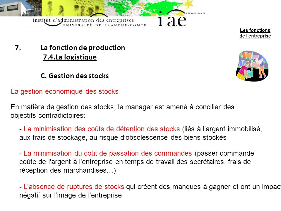 La fonction de production 7.4.La logistique C. Gestion des stocks