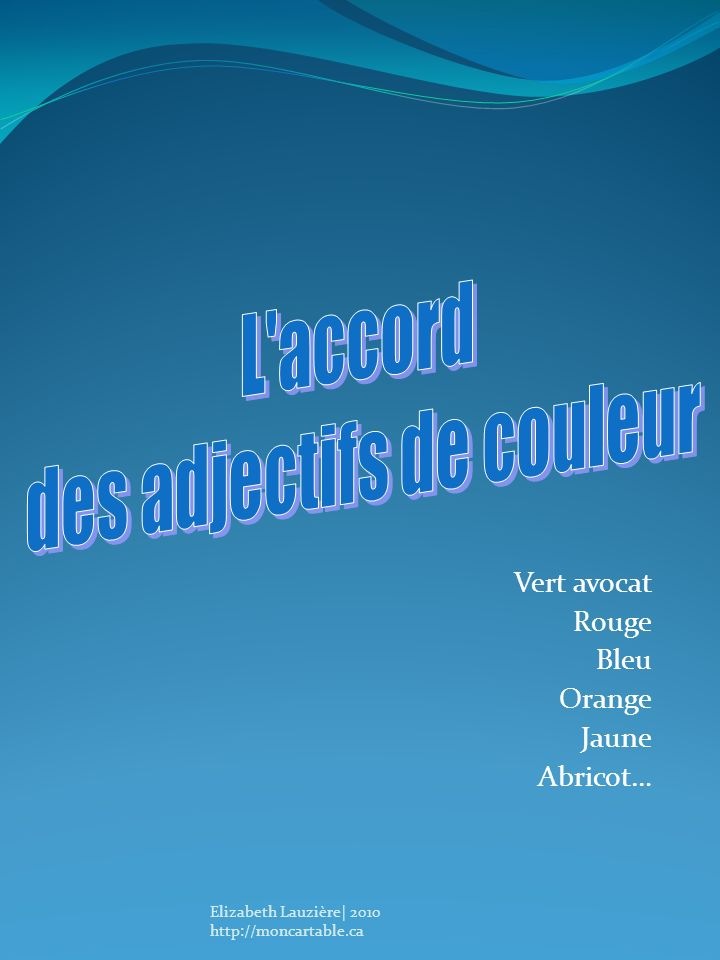 Vert avocat Rouge Bleu Orange Jaune Abricot…