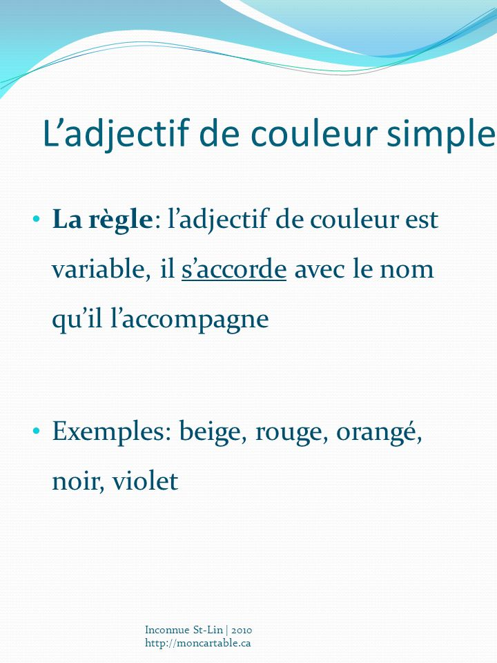 L'adjectif de couleur simple