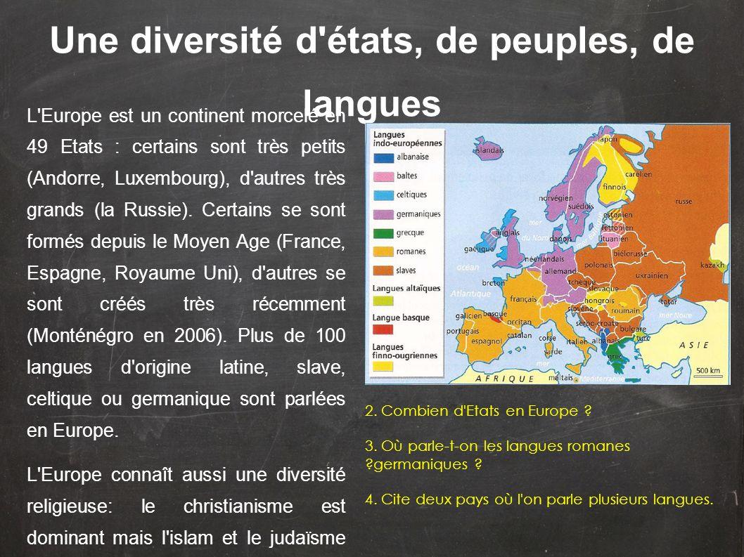 Une diversité d états, de peuples, de langues