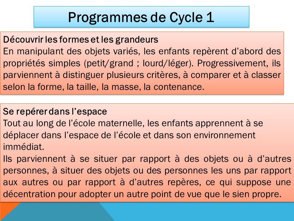 Programmes de Cycle 1 Découvrir les formes et les grandeurs