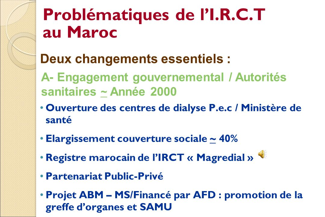 Problématiques de l'I.R.C.T au Maroc