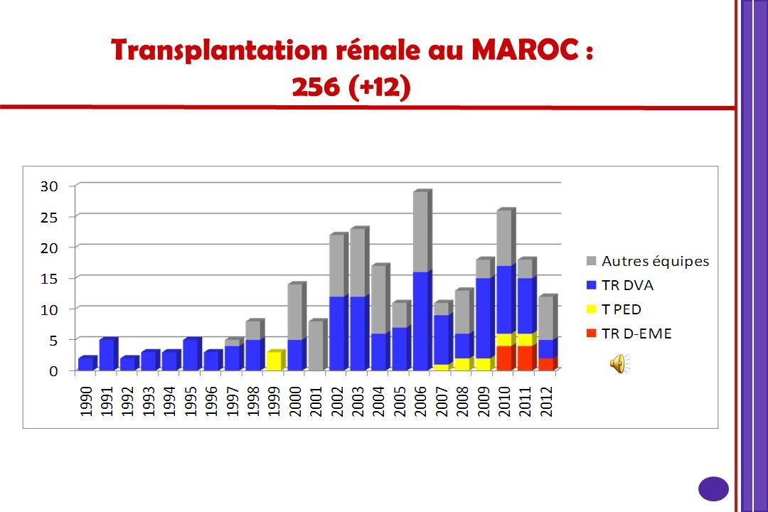 Transplantation rénale au MAROC : 256 (+12)