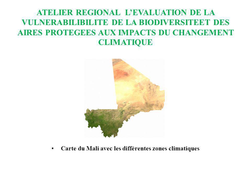 Carte du Mali avec les différentes zones climatiques