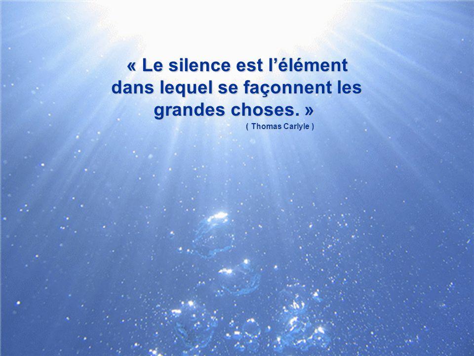 « Le silence est l'élément dans lequel se façonnent les grandes choses