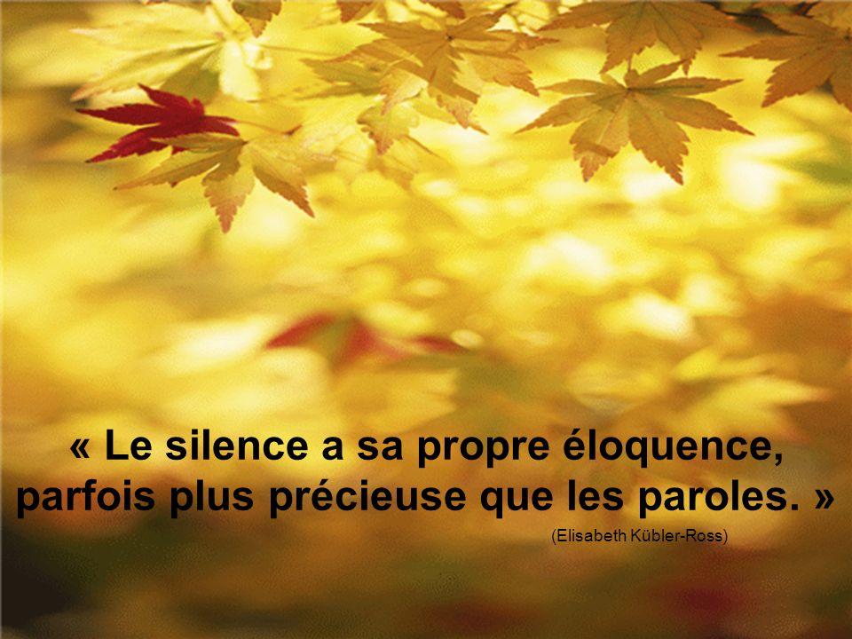 « Le silence a sa propre éloquence, parfois plus précieuse que les paroles. » (Elisabeth Kübler-Ross)
