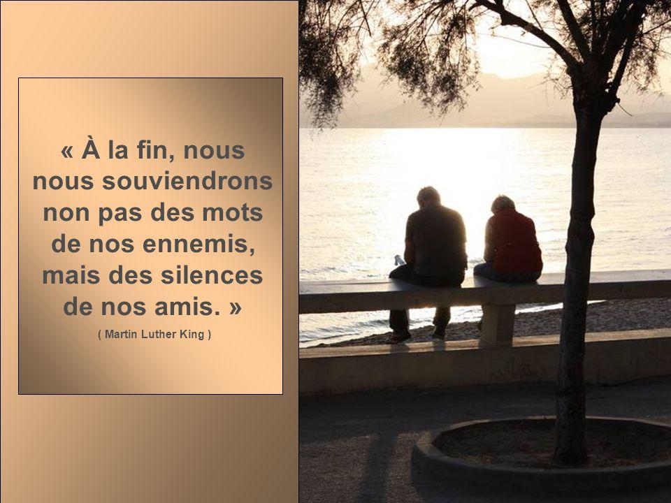« À la fin, nous nous souviendrons non pas des mots de nos ennemis, mais des silences de nos amis. »