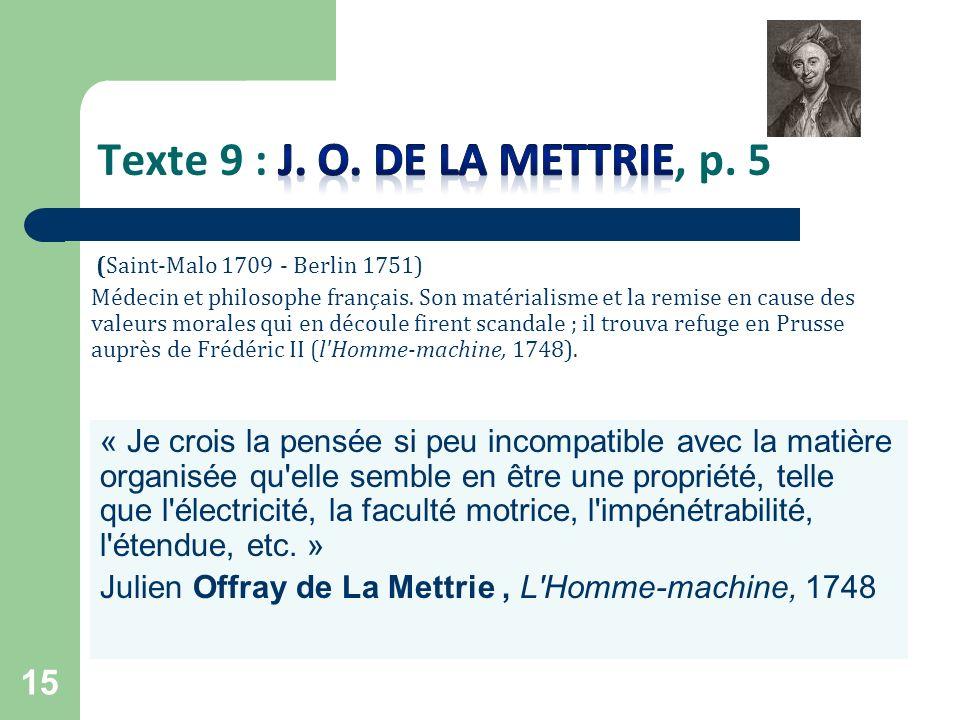 Texte 9 : J. O. de la Mettrie, p. 5