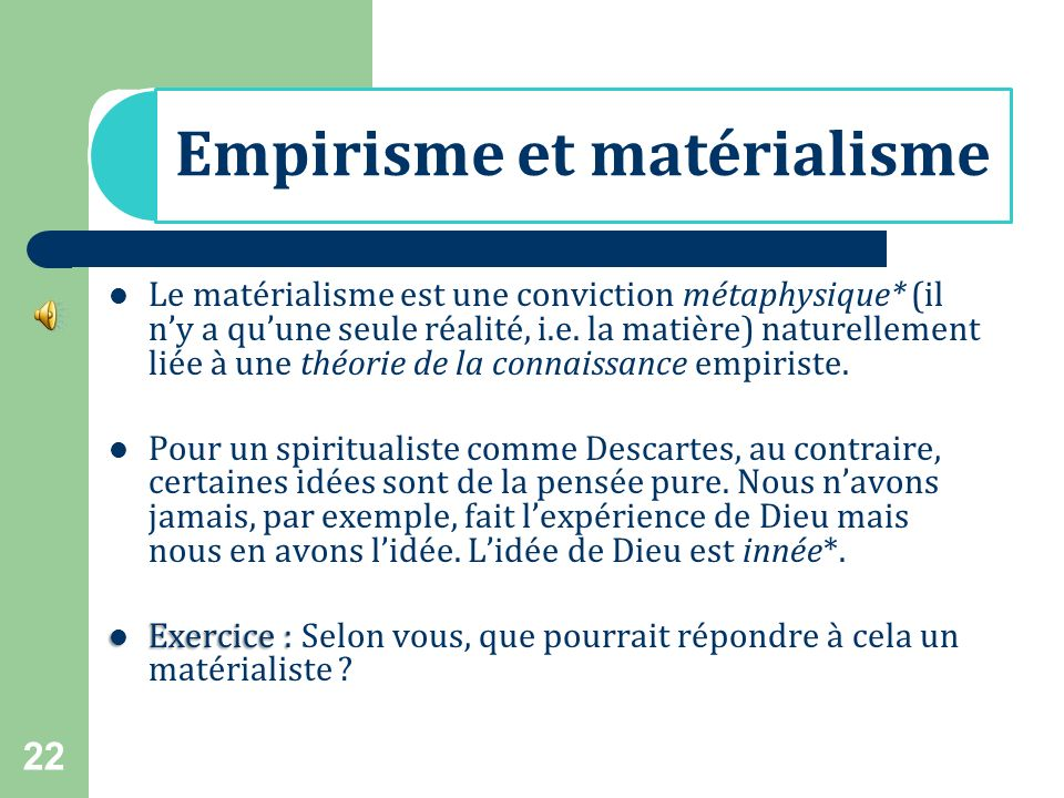 Empirisme et matérialisme