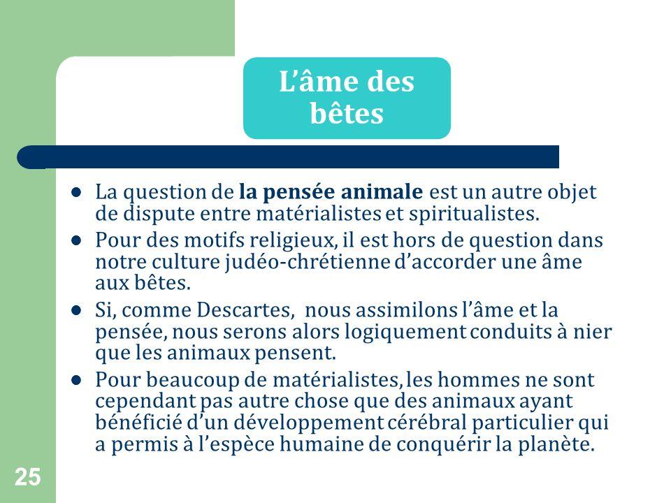 L'âme des bêtes La question de la pensée animale est un autre objet de dispute entre matérialistes et spiritualistes.