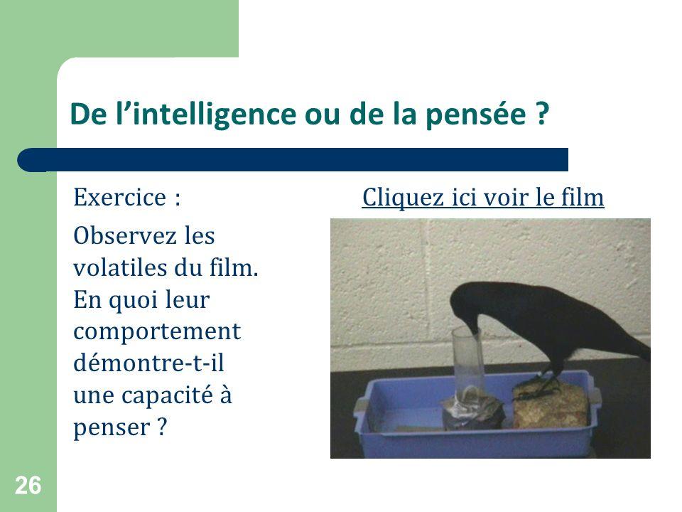 De l'intelligence ou de la pensée