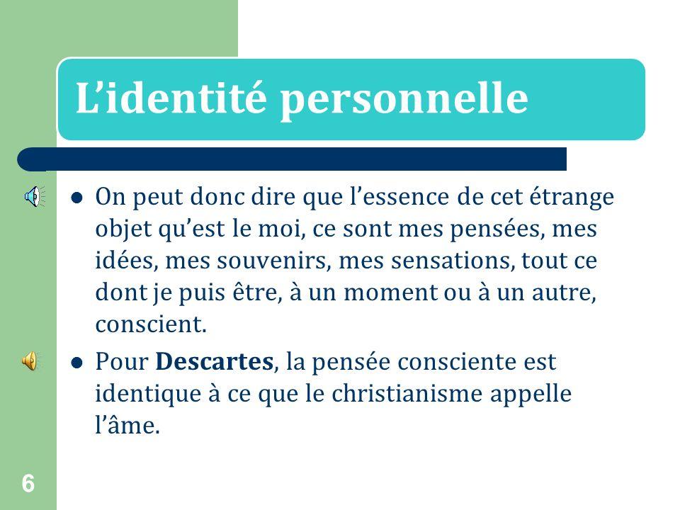 L'identité personnelle