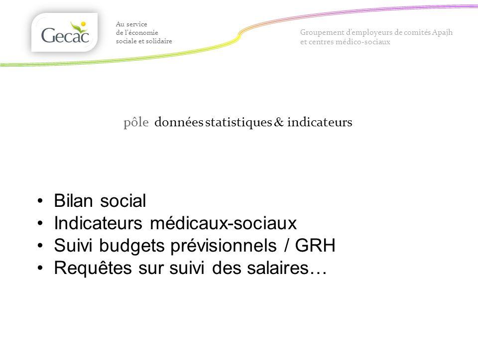Indicateurs médicaux-sociaux Suivi budgets prévisionnels / GRH