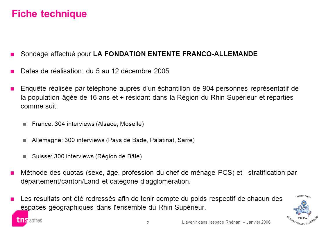 Fiche technique Sondage effectué pour LA FONDATION ENTENTE FRANCO-ALLEMANDE. Dates de réalisation: du 5 au 12 décembre 2005.