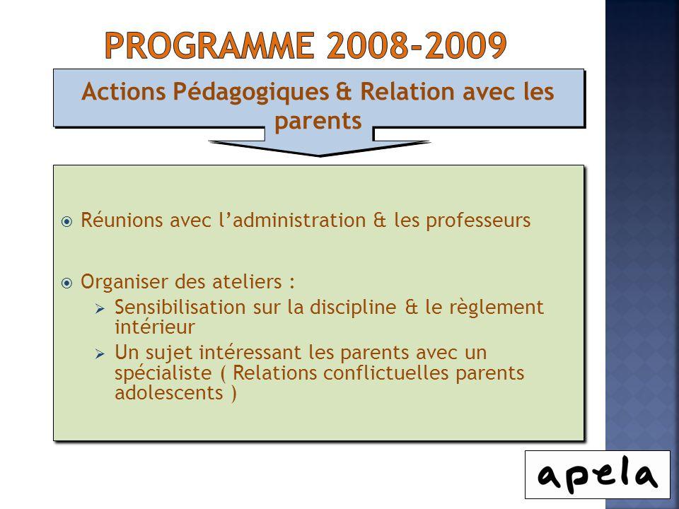 Actions Pédagogiques & Relation avec les parents