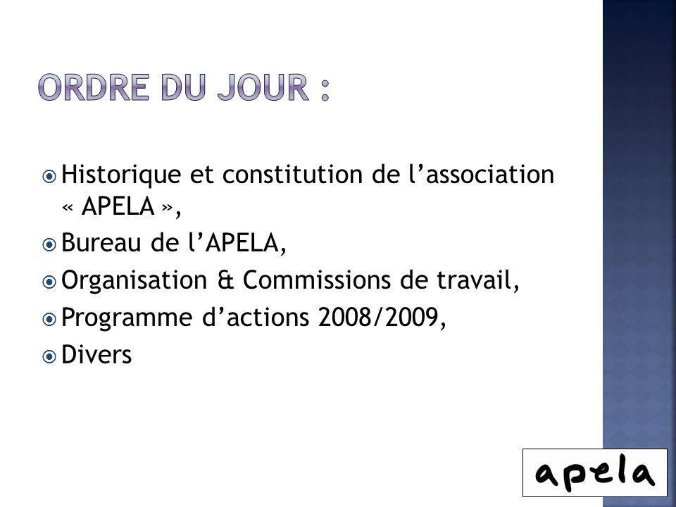 Ordre du jour : Historique et constitution de l'association « APELA »,