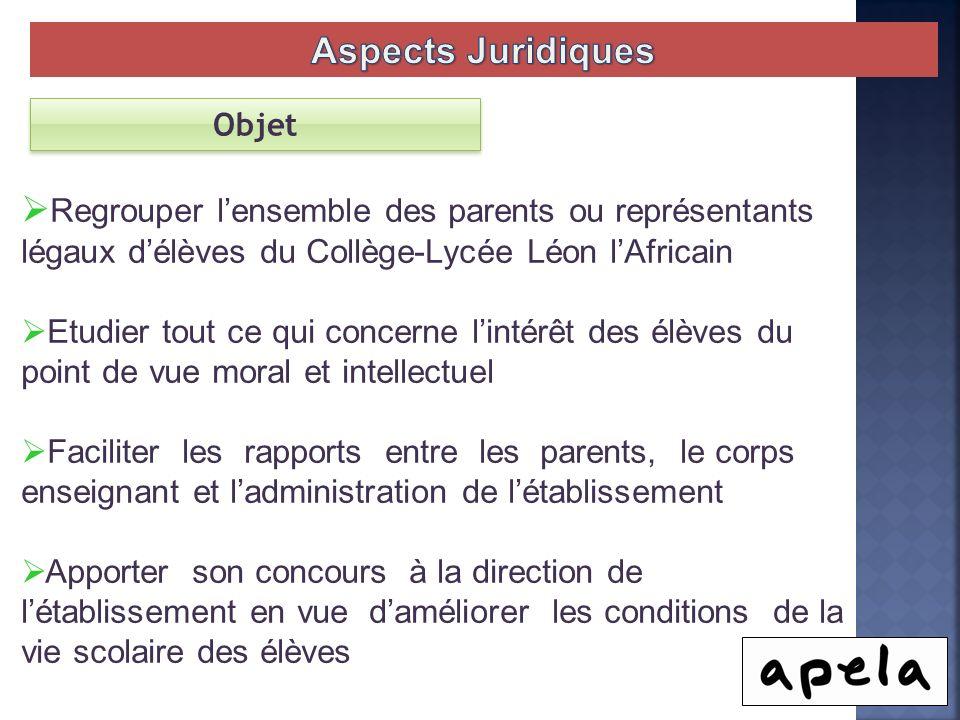 Aspects Juridiques Objet. Regrouper l'ensemble des parents ou représentants légaux d'élèves du Collège-Lycée Léon l'Africain.