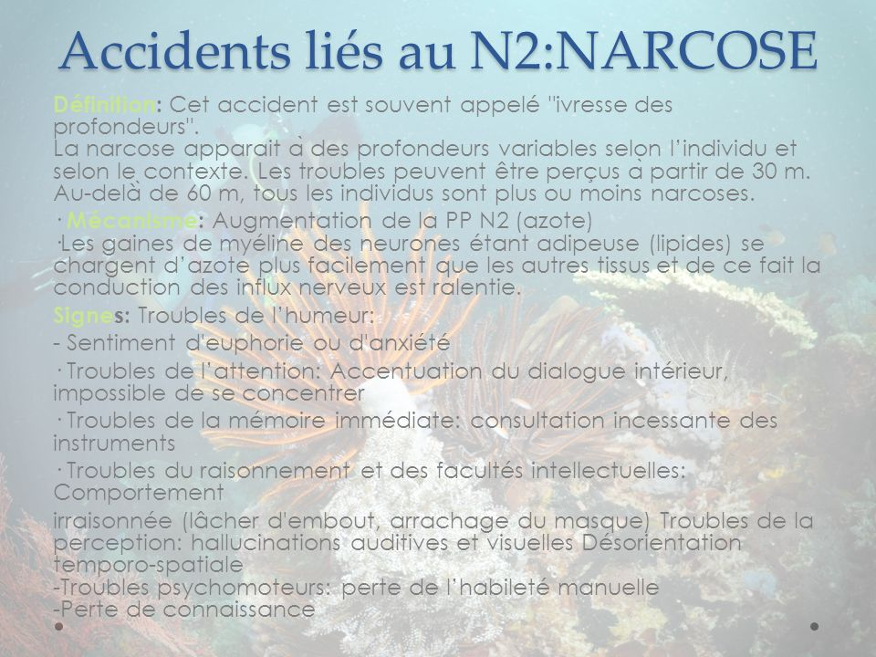 Accidents liés au N2:NARCOSE
