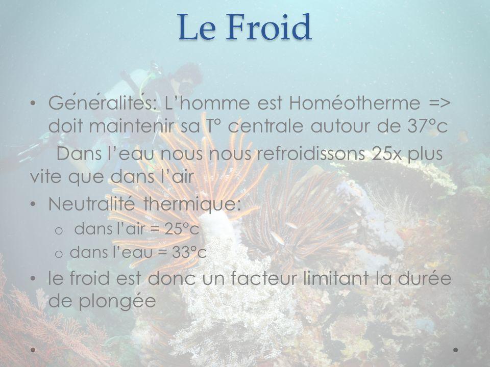 Le Froid Généralités: L'homme est Homéotherme => doit maintenir sa T° centrale autour de 37°c.