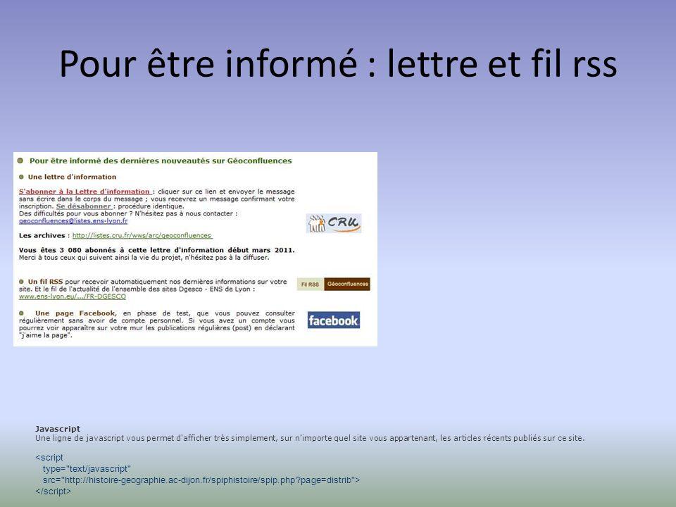 Pour être informé : lettre et fil rss