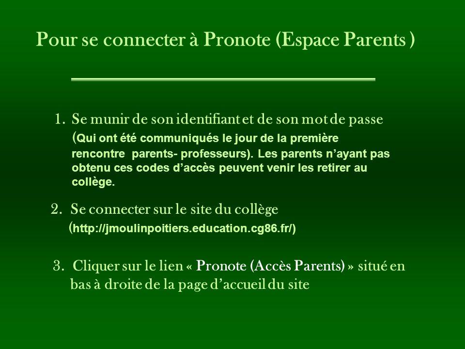 Pour se connecter à Pronote (Espace Parents )