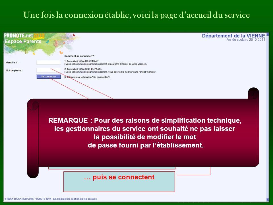Une fois la connexion établie, voici la page d'accueil du service