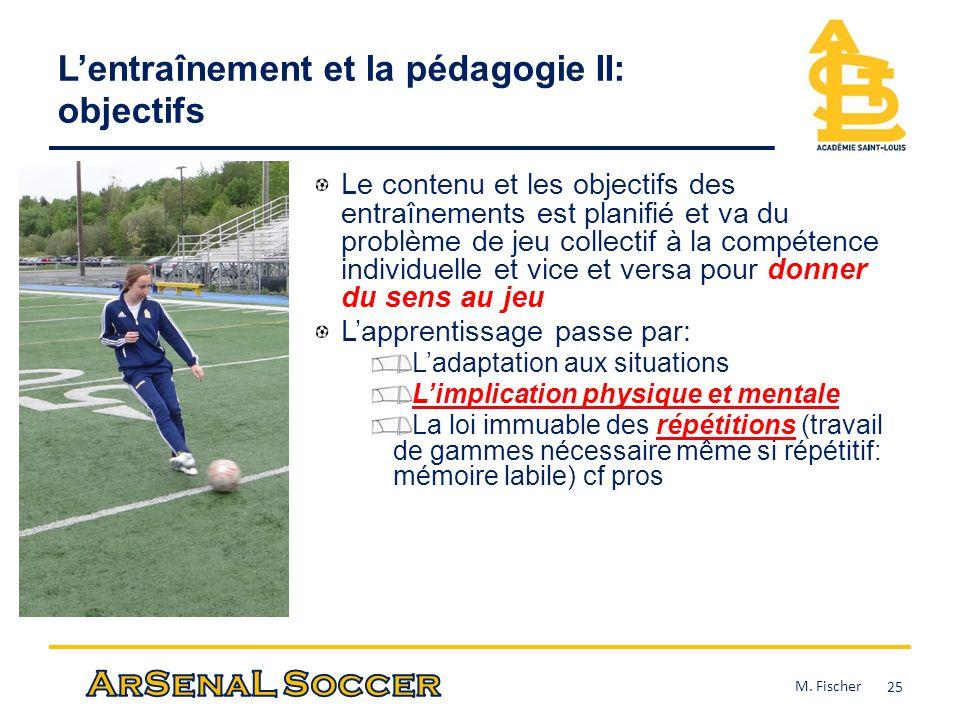 L'entraînement et la pédagogie II: objectifs
