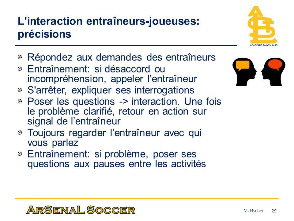 L interaction entraîneurs-joueuses: précisions