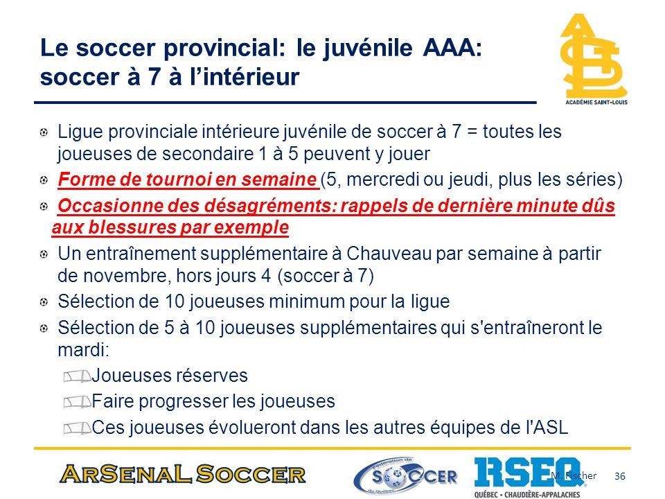 Le soccer provincial: le juvénile AAA: soccer à 7 à l'intérieur