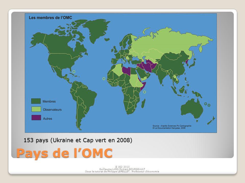 Pays de l'OMC 153 pays (Ukraine et Cap vert en 2008) © IG2 2010