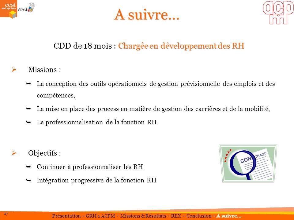 CDD de 18 mois : Chargée en développement des RH