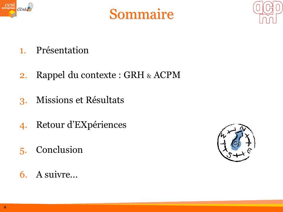 Sommaire Présentation Rappel du contexte : GRH & ACPM