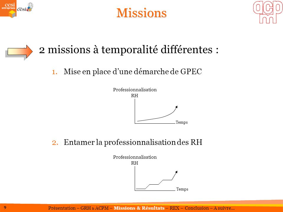 Missions 2 missions à temporalité différentes :