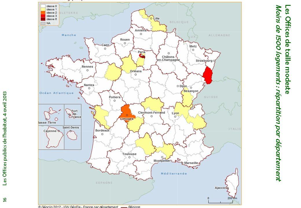 Les Offices de taille modeste Moins de 1500 logements : répartition par département