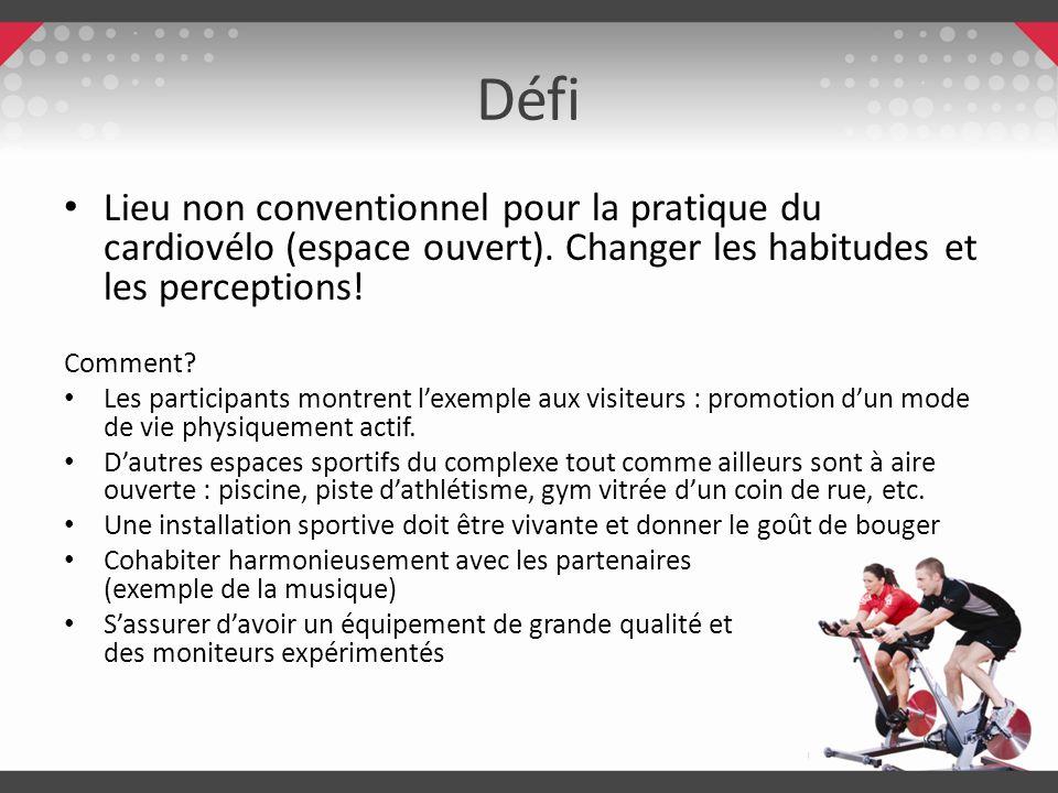 Défi Lieu non conventionnel pour la pratique du cardiovélo (espace ouvert). Changer les habitudes et les perceptions!