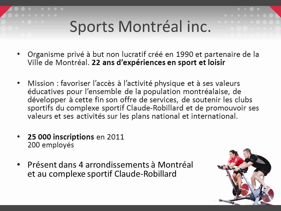 Sports Montréal inc.Organisme privé à but non lucratif créé en 1990 et partenaire de la Ville de Montréal. 22 ans d'expériences en sport et loisir.
