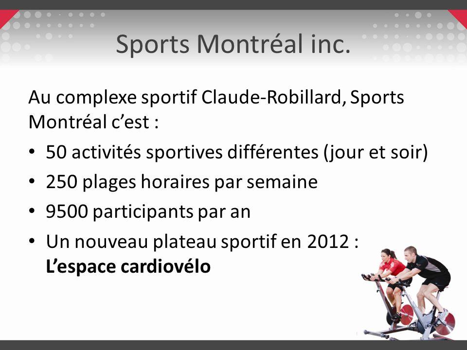 Sports Montréal inc.Au complexe sportif Claude-Robillard, Sports Montréal c'est : 50 activités sportives différentes (jour et soir)