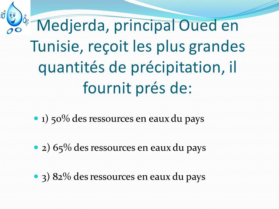 Medjerda, principal Oued en Tunisie, reçoit les plus grandes quantités de précipitation, il fournit prés de: