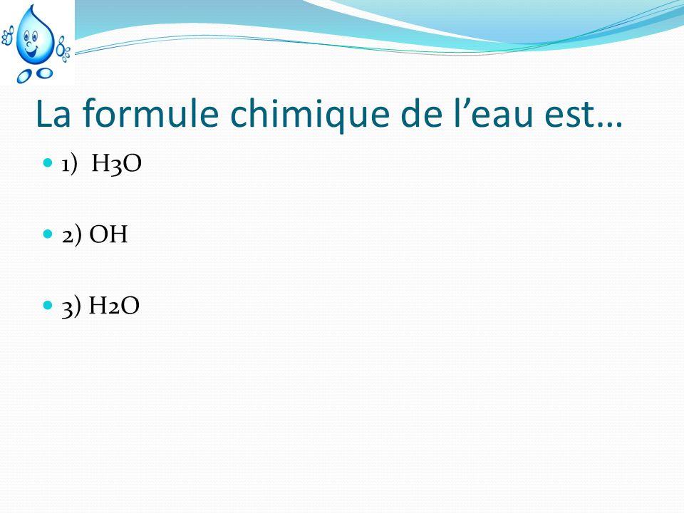 La formule chimique de l'eau est…