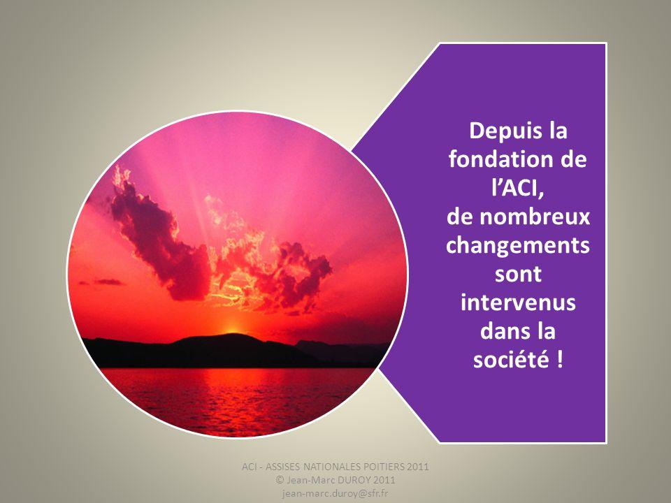 Depuis la fondation de l'ACI, de nombreux changements sont intervenus dans la société !