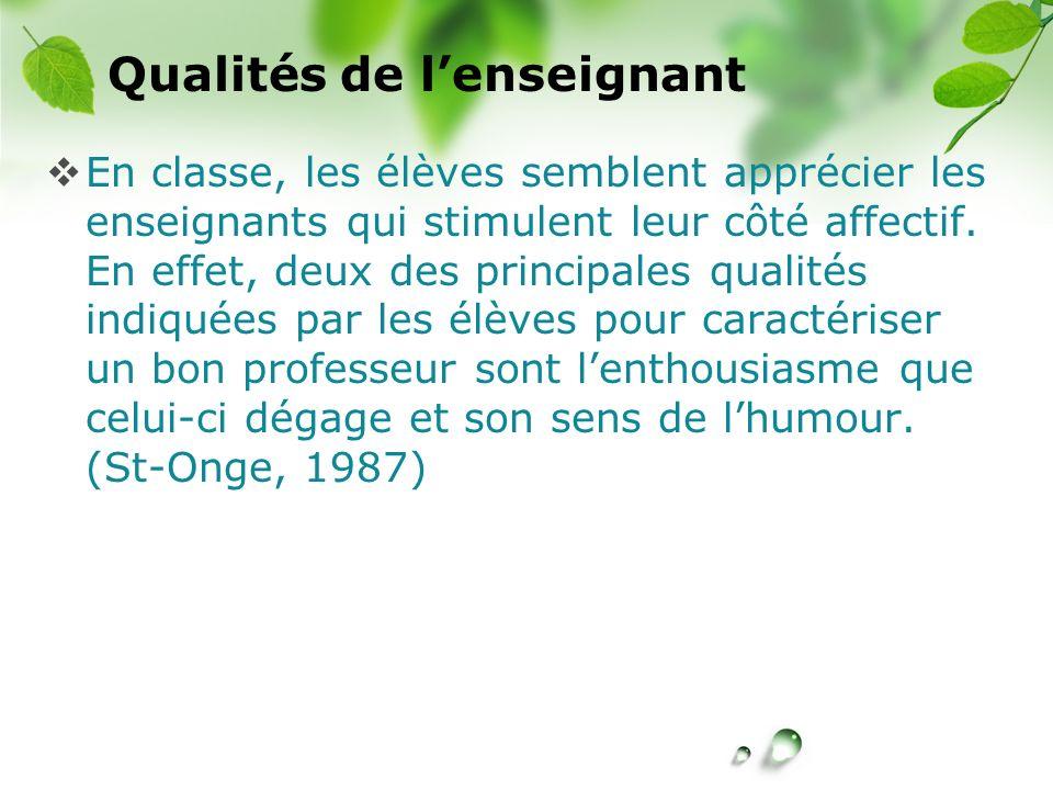 Qualités de l'enseignant