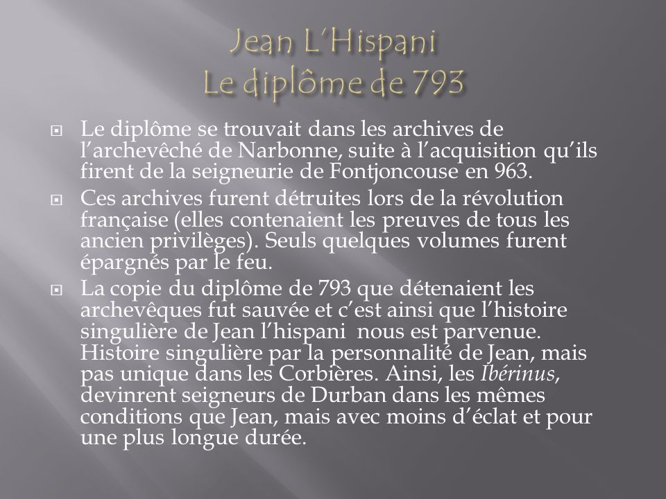 Jean L'Hispani Le diplôme de 793