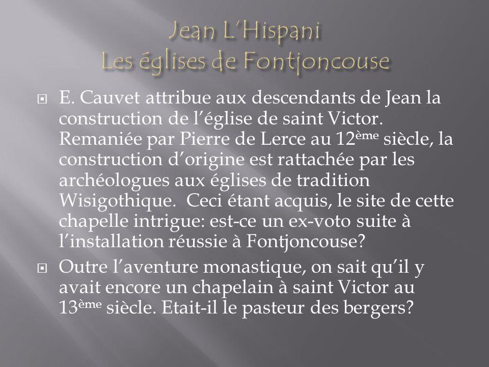 Jean L'Hispani Les églises de Fontjoncouse