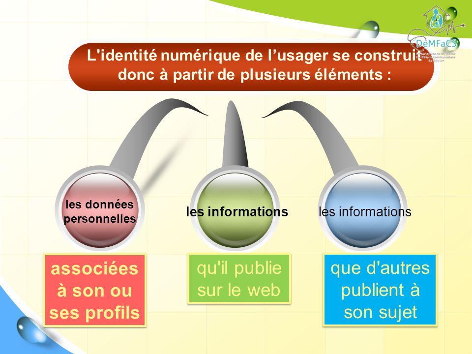 les données personnelles associées à son ou ses profils