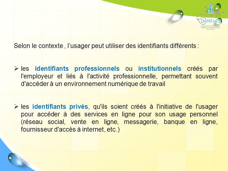 Selon le contexte , l'usager peut utiliser des identifiants différents :